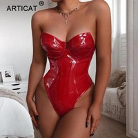 Articat Off Shoulder PU Leather Sexy Bodysuit Women Tops Black Backless Bodycon Rompers Womens Jumpsuit 2019 Party Club Overalls