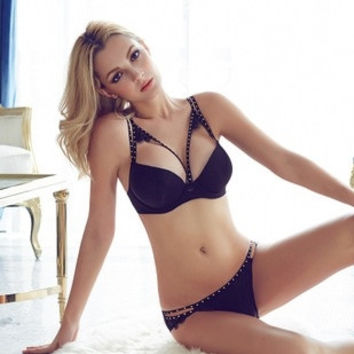 Hot beads on a solid half cup Seamless bra set under thick thin noble sexy lingerie = 1753731076