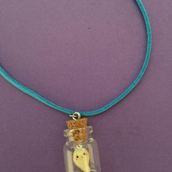 Kawaii Pet Ghost in a Jar Necklace- Ghost glow in the dark, Halloween Necklace, Cute Ghost pet Necklace