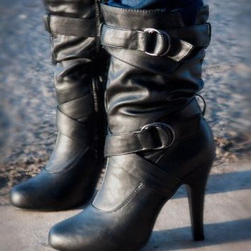 ForeverLink Black Slouchy Buckle High Heel Ankle Boot - Shoes 4 U Las Vegas