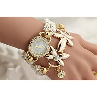 Diamond pearl bracelet table personalized fashion female watches