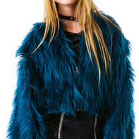 Bitching and Junkfood Juliet Cropped Faux Fur Jacket Teal