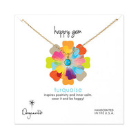 happy gem turquoise necklace, gold dipped, 18 inch