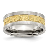 Stainless Steel Grooved Yellow IP-plated Mens 8mm Brushed Band Ring 7 to 13 Size