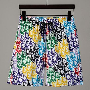 Dior gradient letter print men's and women's casual shorts Colorful