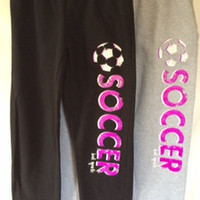 Soccer Sweatpants with Purple and White Print