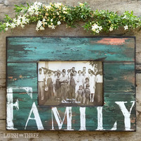 """""""FAMILY"""" ~ Heritage frame in faded turquoise"""