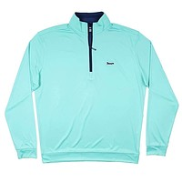 Longshanks 1/4 Performance Pullover in Florida Green & Navy by Country Club Prep