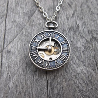 Clockpunk Steampunk Reversible Pendant Necklace, Stainless Steel Watch Movement on Mini Brass Clock Face Pendant  on Cable Link Chain