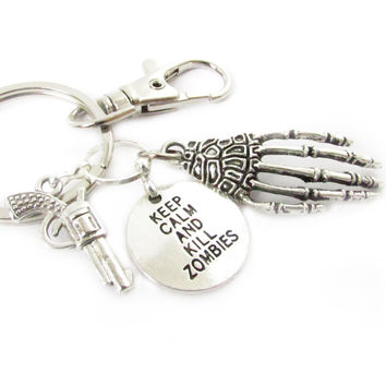 Zombie Keychain, Gun Keychain, Boyfriend Gift, Gift Under 20, Keep Calm Keychain, Car Accessories, Kill Zombies Keychain, Skeleton Keychain
