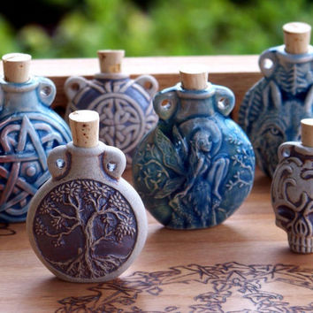 OLD WORLD MAGICK Raku Style Potion Bottle for Ritual Oils - Your Choice - Calavera Skull, Celtic Knot, Faerie, Pentacle, Tree of Life, Wolf