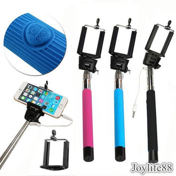 Wired Selfie Stick Handheld Monopod Built-in Shutter Extendable + Mount Holder New = 1945790788