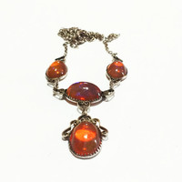 Vintage Victorian Necklace, Lavalier, Sterling Silver, Mexican Opal Stones, Cannetille, 1900s