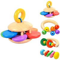 Kids Baby Toys Bell Wooden Rattle Toys Musical Instrument Rattles Handle Kids Toys For borns Children