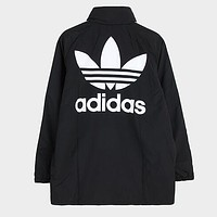 Adidas Popular Women Men Casual Print Zipper Cardigan Sweatshirt Jacket Coat Windbreaker Sportswear Black