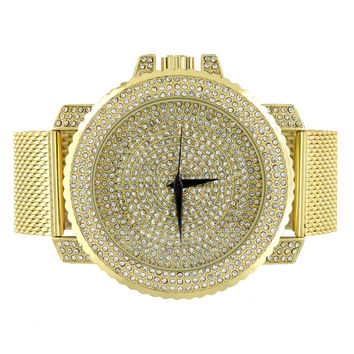 Mesh Bracelet Watch Gold Finish Iced Out Joe Rodeo