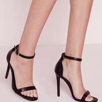 Missguided - Barely There Strappy Heeled Sandals Black