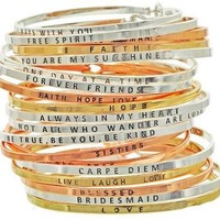 Simple Message Inspirational Being Skinny Bangles -  Silver, Gold and Rose Gold