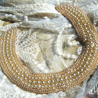 FAUX PEARL COLLAR or Choker, Sateen Back, Japanese Circa 1960's