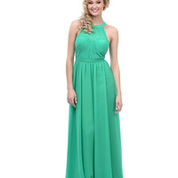 Emerald Chiffon Grecian Evening Gown 2015 Prom Dresses