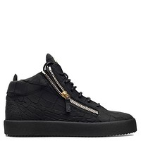 Giuseppe Zanotti Gz Kriss Black Crocodile-embossed Mid-top Sneaker