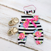 Black and White Stripe with Fuchsia Floral High Waisted Baby Pants | Black and White Stripe with Fuchsia Floral Pants