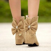 Casual Women's Korean Bowknot Bow Roud Toe Scrub Leather Ankle Flat Boots Shoes