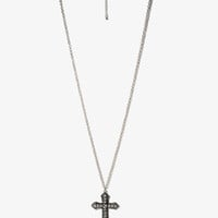 Rhinestoned Pointed Cross Necklace