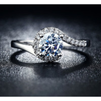 Wedding Engagement Vintage White Gold Plated Ring for Women