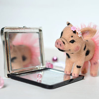 For Elaine. Needle felted little pig. Tiny cute piglet. Sweet piggy. Miniature animal. Small nice toy. Funny gift.