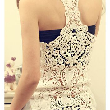 Bottoming Vest Back Lace Crochet For Her