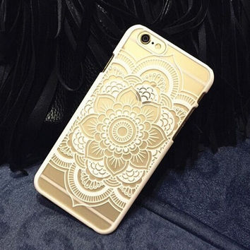 Plastic iPhone 6 Case, Clear iPhone 6 plus Cover with  Lace Print, Bohemian Phone Cover, Mandala Print Cover, Henna Case, Ethnic iPhone Case = 1928803908