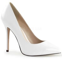 White Pointy Slip-On Pumps