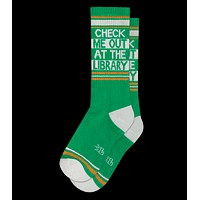 Check Me Out At The Library Gym Crew Socks in Green