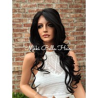 Soft Brunette 3x5 Silk Base Dark Brown Human Hair Blend Front Lace Wig 22""
