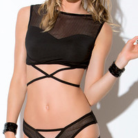 Striped Mesh Crop Top and Panty Set