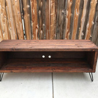 Honey colored entertainment center : rustic, vintage, reclaimed console stand, tv furniture