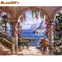 RUOPOTY Frame Gallery DIY Painting By Numbers Wall Art Decor Hand painted Oil Painting On Canvas For Living Room Gift Artwork