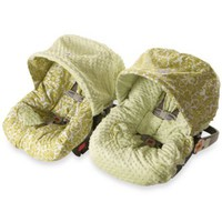 Baby Ritzy Rider™ Infant Car Seat Cover in Avocado Damask & Sage Minky Dot