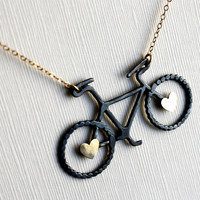 Oxidized Sterling Silver Bike Pendant with by RachelPfefferDesigns