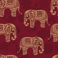 Paisley Elephants Wallpaper