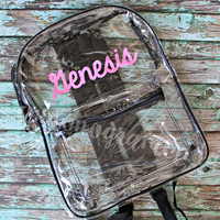 Personalized Back to School Clear Backpack- Name or Monogram