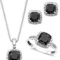 Sterling Silver Three Piece Set, Onyx and Diamond Accent Ring, Pendant, and Earrings | macys.com