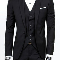 Red Laconic Lapel Long Sleeves Blazer Three-Piece Suits