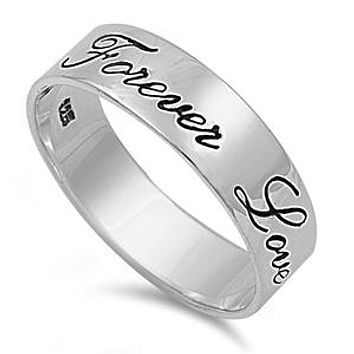A 6mm 925 Sterling Silver Forever Love Wedding Band