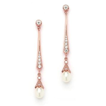 Vintage 14K Rose Gold Cubic Zirconia Dangle Earrings with Freshwater Pearls