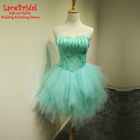 Sexy Turquoise Ball Gown Sweetheart Feather Ruffled Mini Cocktail Dresses 2017 Swan Dancer Short Prom Gown robe de cocktail TC59
