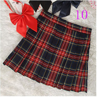 Preppy Style Japanese Style School Uniform Plaid Pleated Tartan Skirts