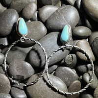 Blue Turquoise Genuine Sterling Silver Post Movable Hoop Earring