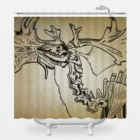 Elk Skeleton Shower Curtain